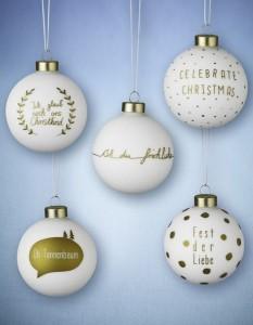 Weihnachtsbaumkugeln Weiß Gold Spruch punkte