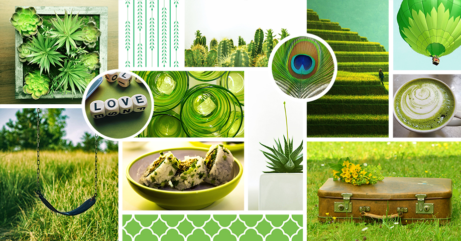 Moodboard grün greenery trend 2017