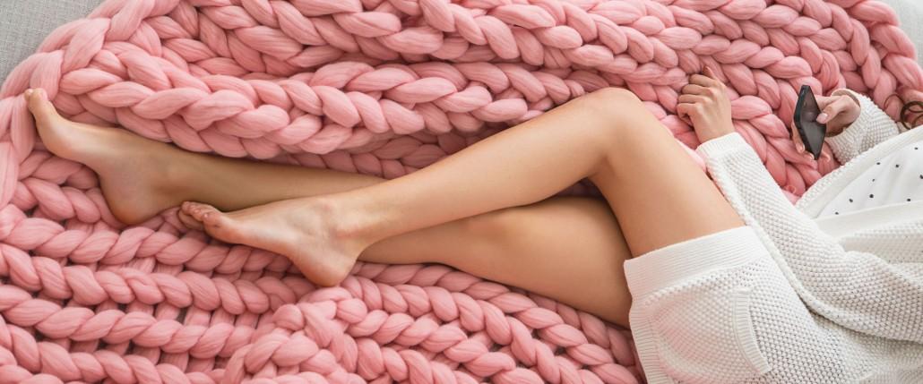 Wolldecke Merino Wolle Rosa Grobstrick Decke