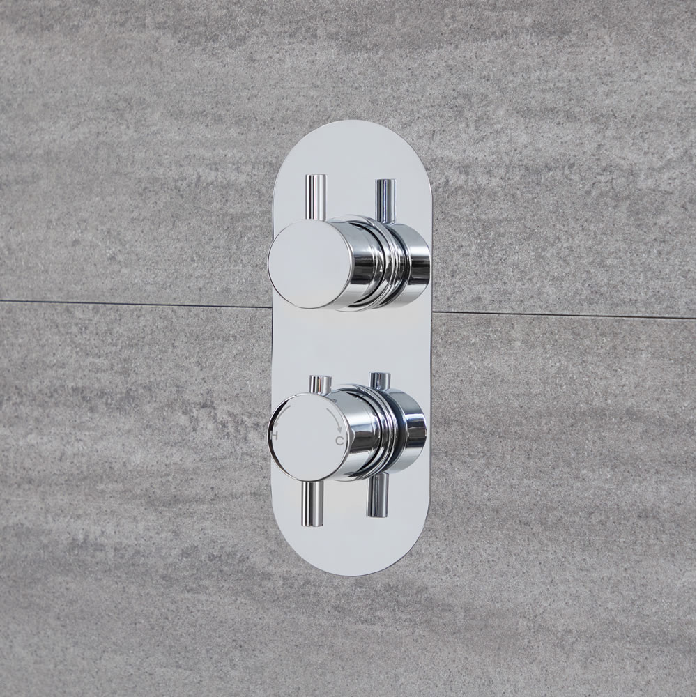 Duschen 1-Weg Runde Thermostat-Duscharmatur Chrom - Como