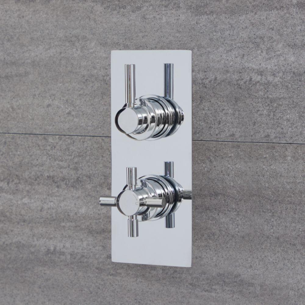 Duschen 1-Weg Runde Thermostat-Duscharmatur Chrom - Tec