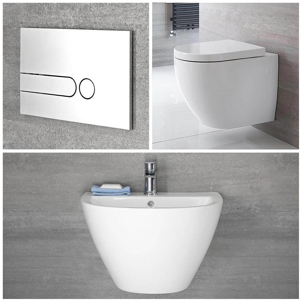 Badezimmerarmaturen & -produkte Wandwaschbecken und Wand WC Randlos Set inkl. Unterputz-Spülkasten - Ashbury
