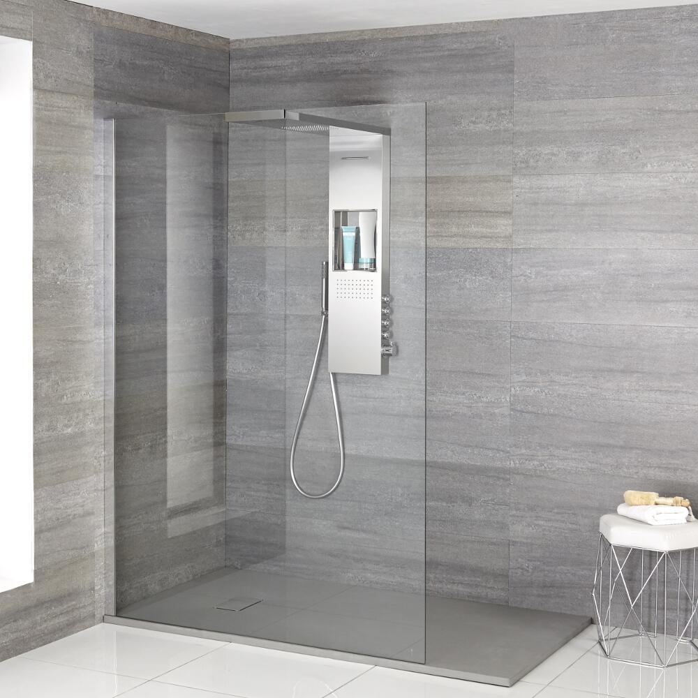 Duschen Iko Walk-In Dusche mit Duschwanne in grauer Steinoptik & glashaltendem Duschpaneel - Wählbare Größe
