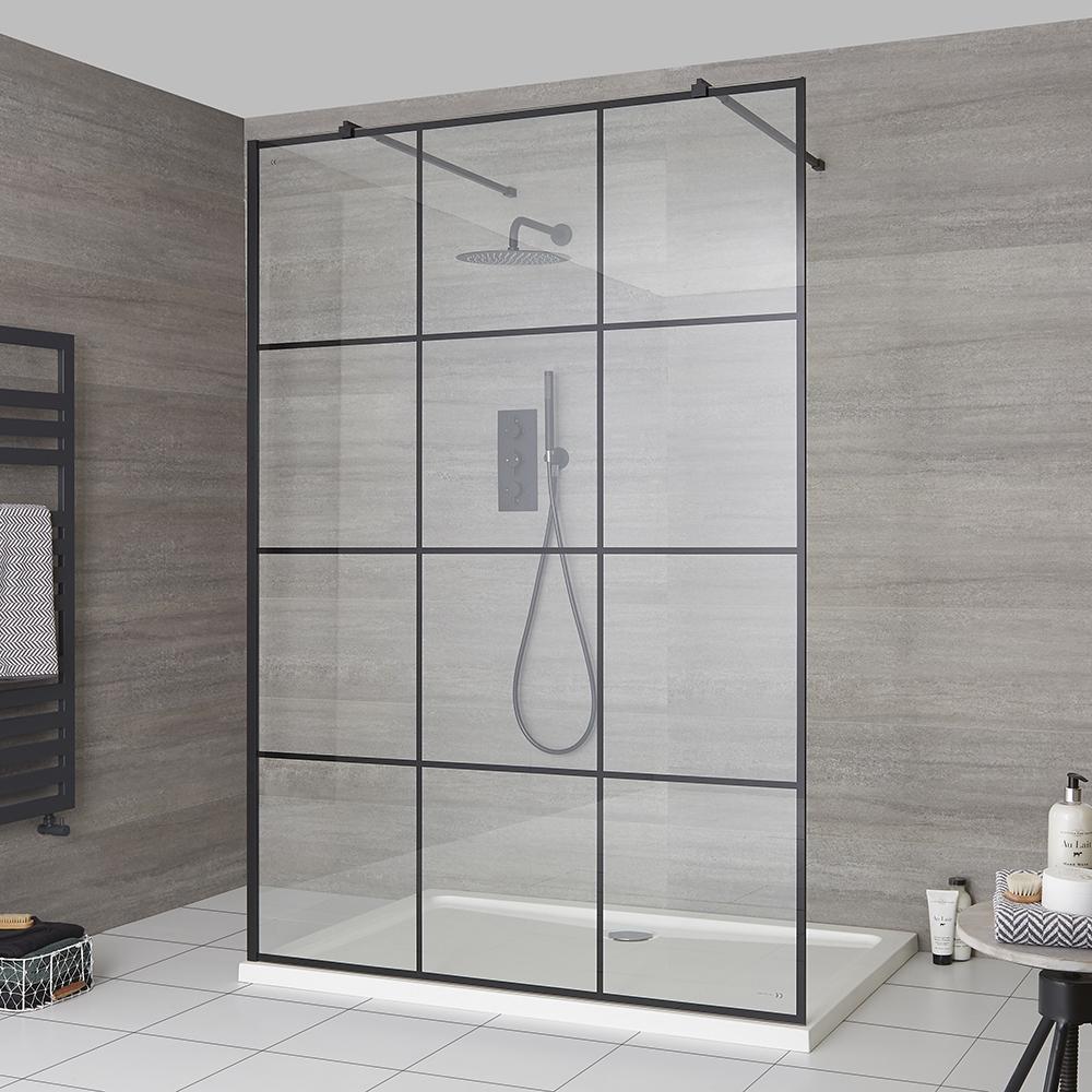 Duschen Walk-In Duschwand mit Gittermuster, freistehend - inkl. Duschwanne mit niedrigem Profil – wählbare Größe – Barq