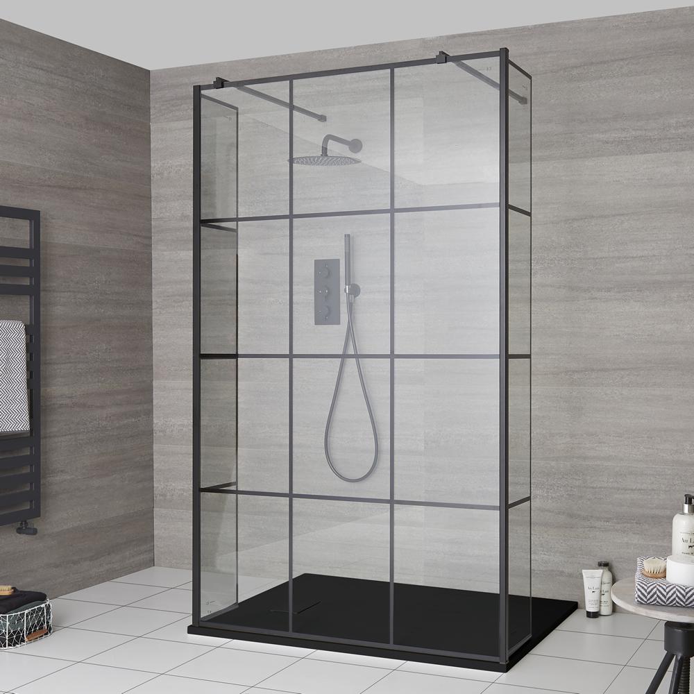 Duschen Walk-In Duschwand mit Gittermuster und Seitenpaneel, freistehend - inkl. Duschwanne mit Schiefer-Effekt (Finish wählbar) – wählbare Größen – Barq