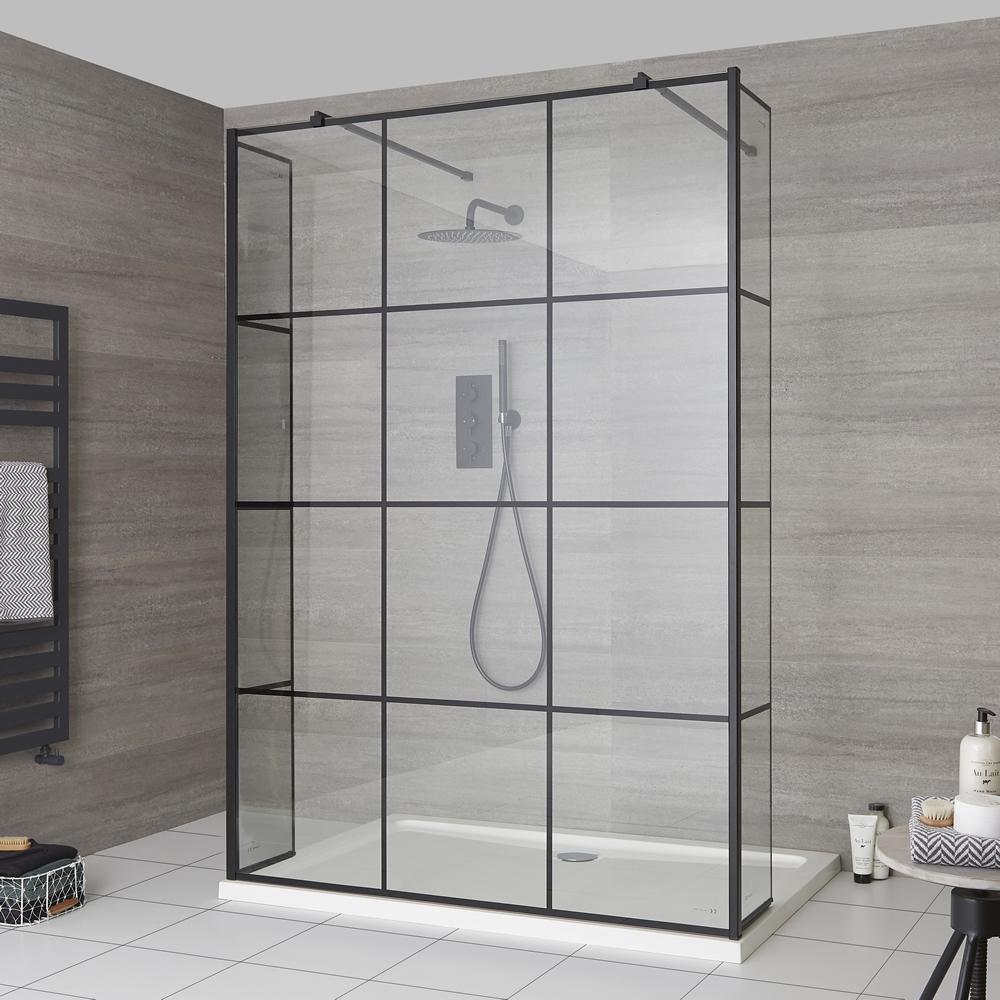 Duschen Walk-In Duschwand mit Gittermuster und Seitenpaneel, freistehend - inkl. Duschwanne mit niedrigem Profil – wählbare Größen – Barq
