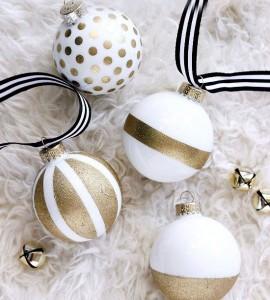 Weihnachtsbaumkugel gold weiß glitzer