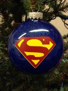 Weihnachtskugel Superman Blau glitzer