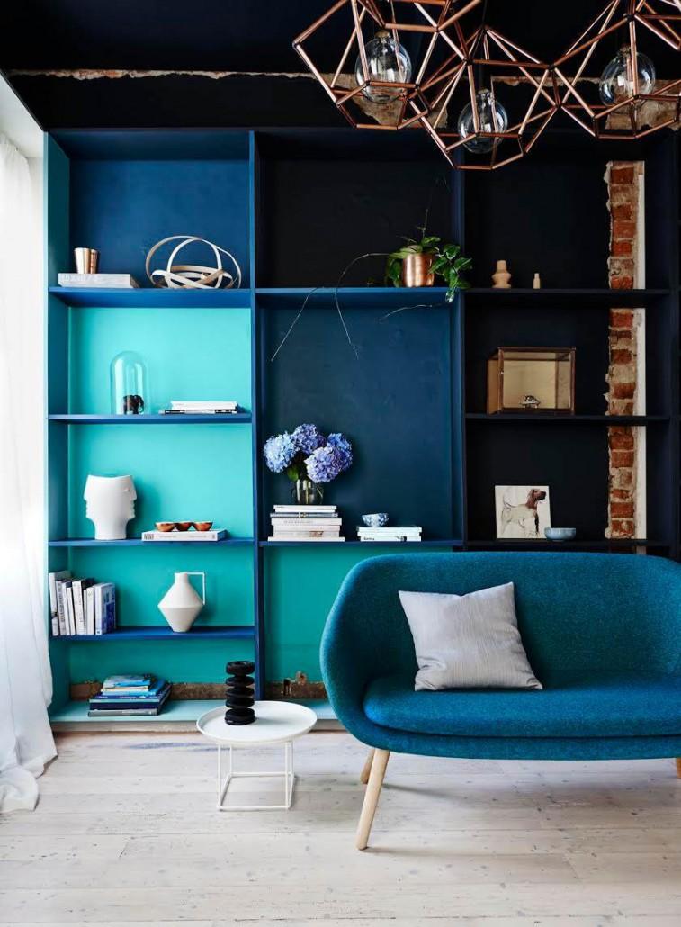 Marineblau Wohnzimmer kupferlampe
