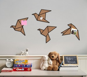 Kork Pinnwand Vogel Origami