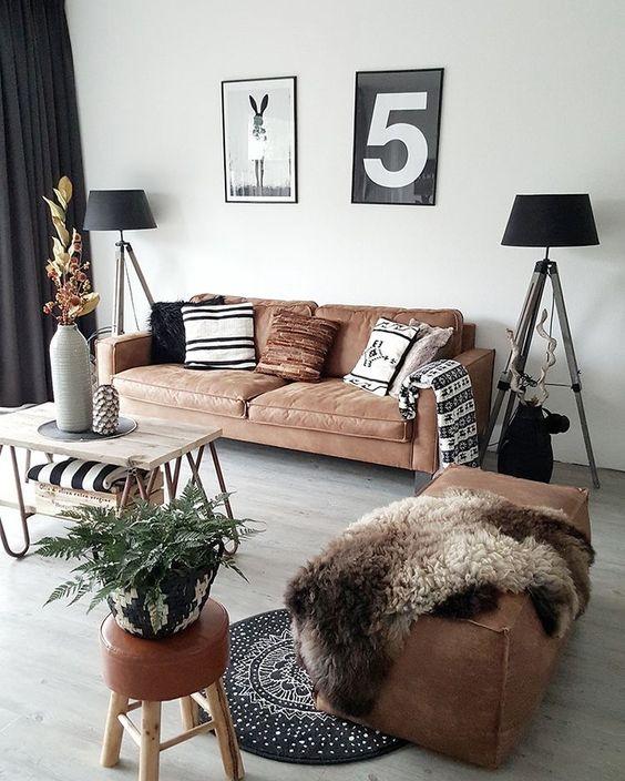 Lammfell Braune Leder Couch Sofa Nordic scandinavisch 5